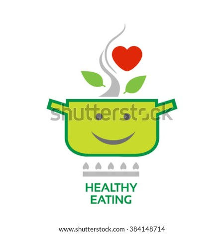 Healthy eating vector image concept with green leaves, heart symbol and happy cooking pot icons - stock vector
