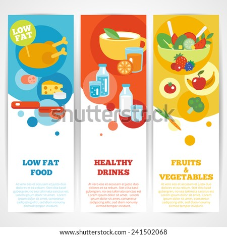 Healthy eating vertical banner set with fruits and vegetables drinks low fat food isolated vector illustration - stock vector