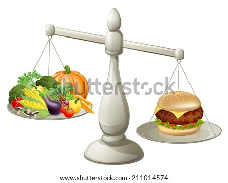 Healthy eating will power concept, healthy food on one side of scales and fast food burger on the other. Burger is weighing more. - stock vector