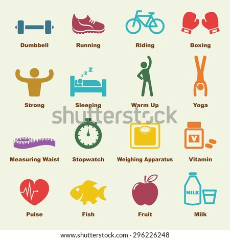 healthy elements, infographic icons - stock vector