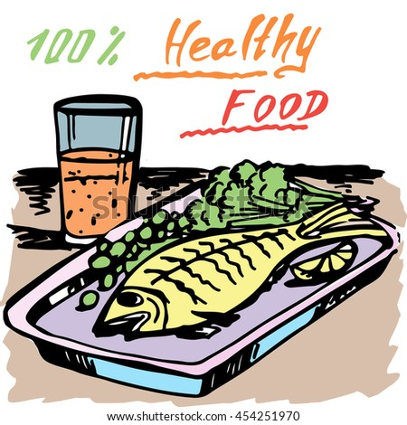 Healthy food. A fish. Juice