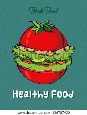 Healthy Food Background with tomato - stock vector