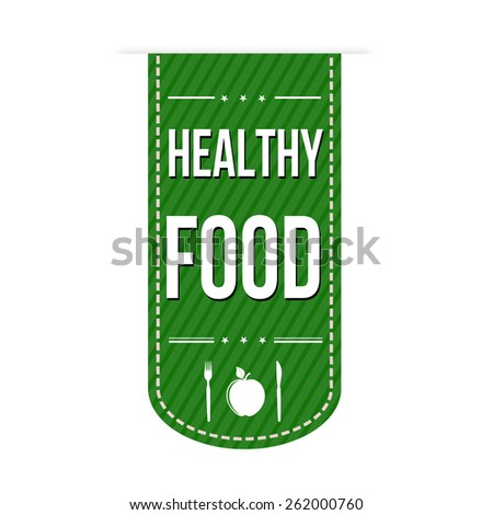 Healthy food banner design over a white background, vector illustration - stock vector