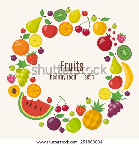 Healthy food circle of different fruits in flat style - stock vector