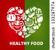 Healthy food concept. Heart shape with organic vegetables and fruits icons. Vector illustration - stock vector