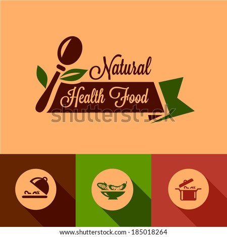 Healthy Food Design Elements in Flat Design Style. - stock vector