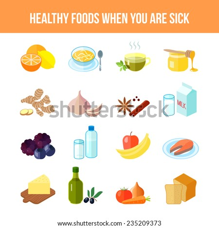 Healthy food for sick people flat icon set with lemon soup tea honey isolated vector illustration