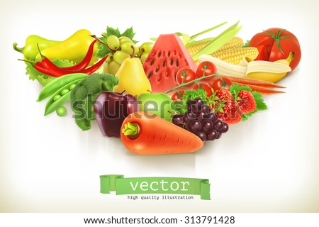 Healthy food, fruits and vegetables vector illustration - stock vector
