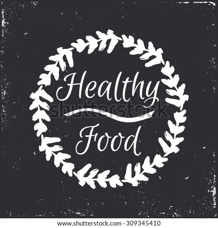 Healthy food hand-sketched herbal vector frame (template). Useful for ads, signboards, packaging, menu design, interior decorating and other design. - stock vector