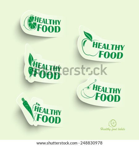 Healthy food icons in green. Modern style - stock vector