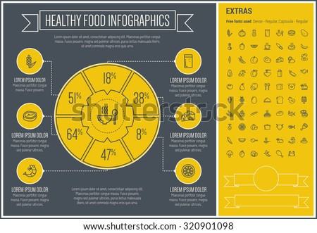 Healthy Food infographic template and elements. The template includes the following set of icons - pumpkin, pineapple, potato, grape, banana, pork, chicken and more. Modern minimalistic flat thin line - stock vector