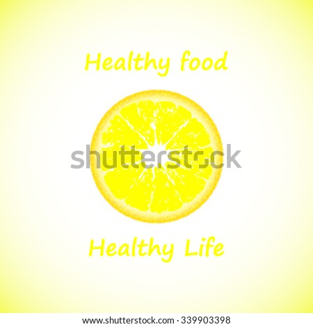 Healthy food logo with slogan and lemon