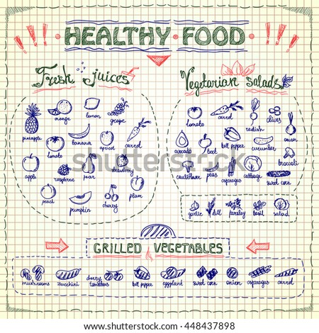 Healthy Food Menu List Hand Drawn Stock Vector