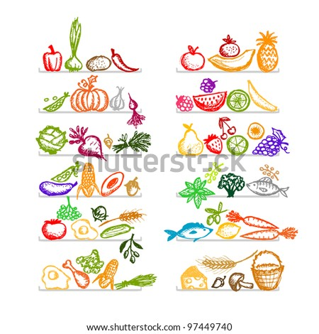 Healthy food on shelves, sketch for your design - stock vector