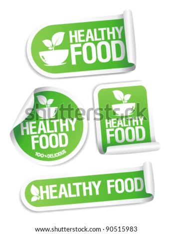 Healthy Food stickers set. - stock vector