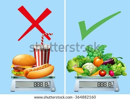 Healthy food versus junkfood illustration - stock vector