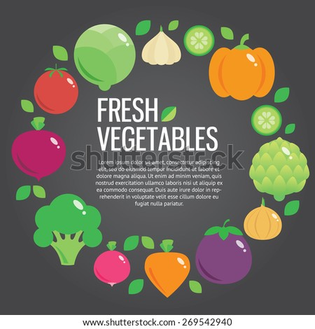 Healthy fresh organic food vector background with place for text. Vector modern illustration, stylish design element - stock vector