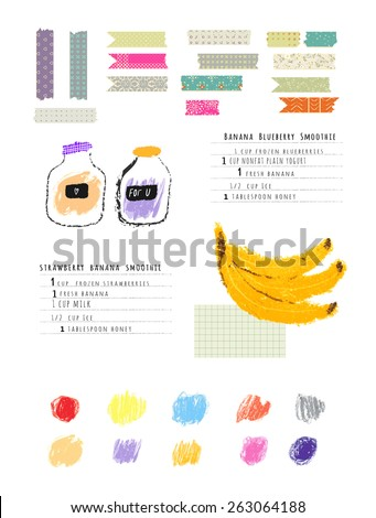Healthy fresh smoothies recipes plus Collection of Cute Patterned Washi Tape Stripes and colored brush strokes of pastel. Cute hand drawn illustration made with real oil pastel. Isolated - stock vector