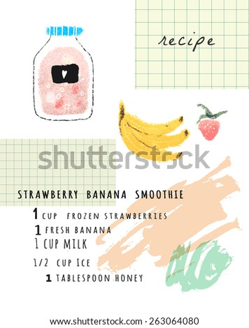 Healthy fresh strawberry banana  smoothie recipe. Cute hand drawn illustration made with real oil pastel. Isolated  - stock vector