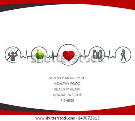 Healthy  heart  and  Wellness illustration.  Healthy food, no stress,  normal weight and fitness leads to healthy heart and life. Symbols connected with heart rate monitoring line.