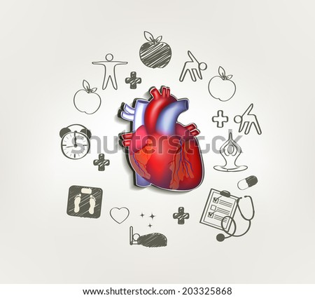 Healthy heart at the middle hand drawn tips around . Healthy food, fitness, no stress, healthy weight, doctor visits, good sleep leads to healthy heart. - stock vector