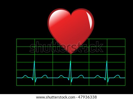 Healthy heart illustration showing a red heart over a healthy sinus rhythm cardiac trace isolated on black - stock vector