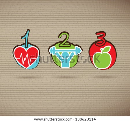 Healthy icons over brown background vector illustration
