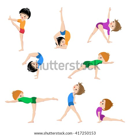 Healthy Kids Yoga Poses Gymnastics Lifestyle Children Workout Set Sport