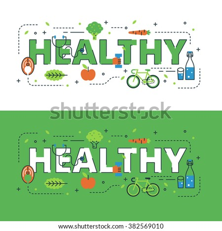 Healthy lettering flat line design with icons and elements for book cover, report header, presentation,illustration, infographics, printing, website banner and landing page. - stock vector