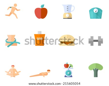 Healthy life icon series in flat colors style. - stock vector