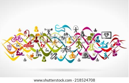 Healthy life icon set - stock vector