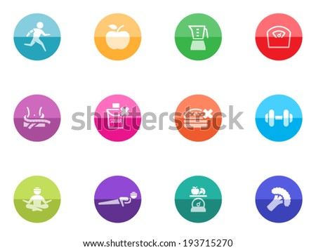 Healthy life icons in color circles - stock vector