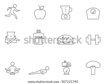 Healthy life icons in thin outlines. Lifestyle, foods. - stock vector