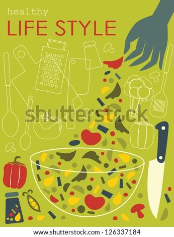 healthy life style card. vector illustration - stock vector