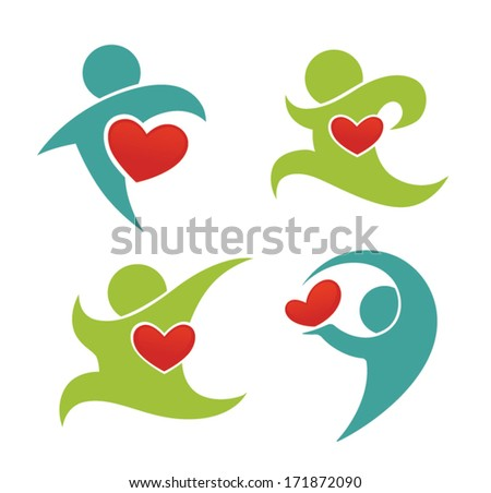 healthy life, vector collection of health, hearts, people symbols and icons - stock vector