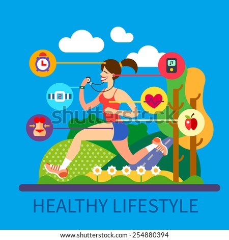 Healthy lifestyle and sport: nutrition, exercise, healthy look, lender waist, regime of  day, music. Girl jogging in park on a sunny day. Vector flat illustration and info graphic - stock vector