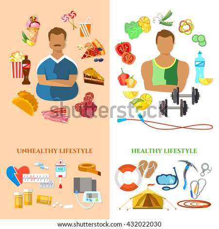 Healthy lifestyle and unhealthy lifestyle banner fat man slim man diet and fitness fast food and obesity problem vector - stock vector