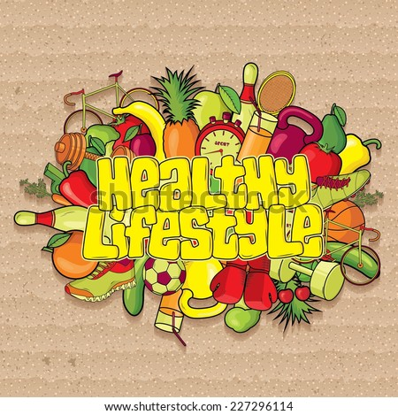 Healthy Lifestyle Background. Vector illustration - stock vector