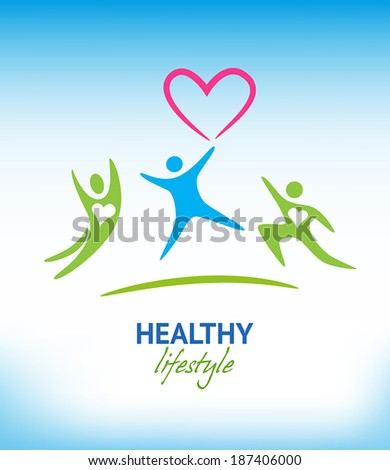 Healthy lifestyle background with exercising people. - stock vector