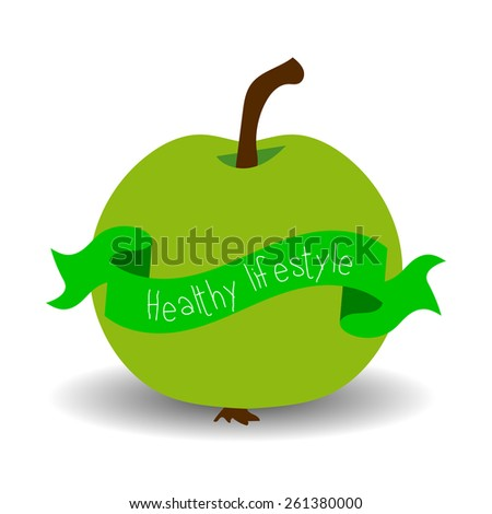 Healthy lifestyle card with apple