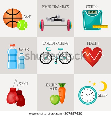 Healthy lifestyle concept icons set.  Sports equipment. Vector illustration - stock vector