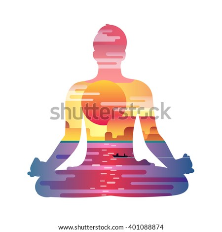 Healthy lifestyle concept. Vector sunset background with silhouette of man practicing yoga in the lotus position. Yoga exercises and recreation. - stock vector
