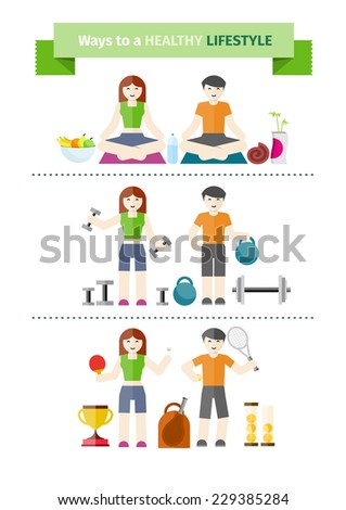 Healthy lifestyle concept with couple practising yoga, healthy eating, exercising with weight and playing tennis - stock vector