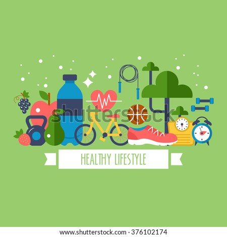 Healthy lifestyle concept with food and sport icons - stock vector