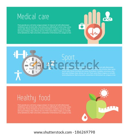 Healthy lifestyle flat stylish illustration banners set. Medicine and health care, food and sport theme. Modern colors. Vector illustration. Layered file with place for text - stock vector