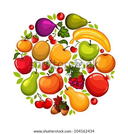 Healthy lifestyle-fruit circle - stock vector