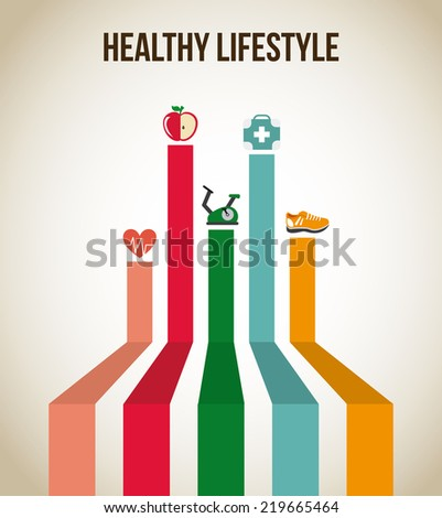 healthy lifestyle graphic design , vector illustration - stock vector