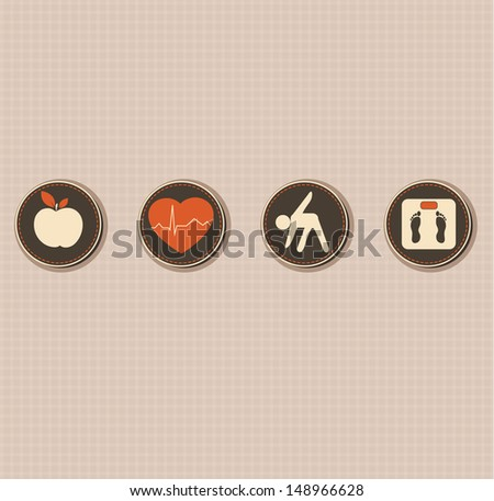 Healthy lifestyle.  Healthy food and fitness leads to healthy heart and healthy body. - stock vector