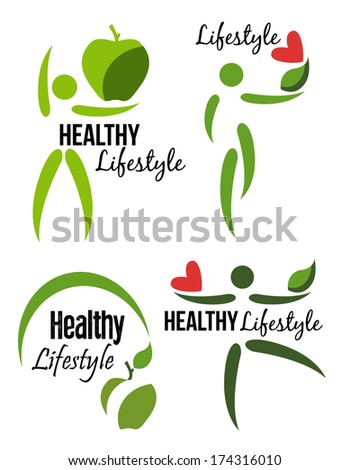 healthy lifestyle icons,labels - stock vector
