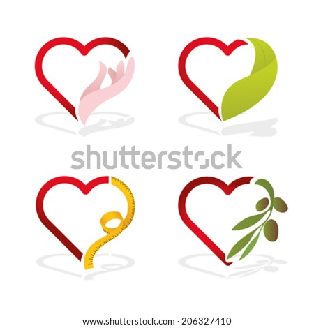 healthy lifestyle icons of HEART - stock vector